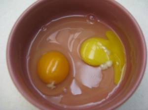 The 'Real' Egg is darker because it has more Beta Carotene.